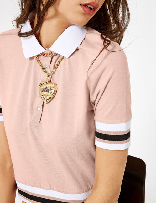 Light pink and white polo shirt-style T-shirt