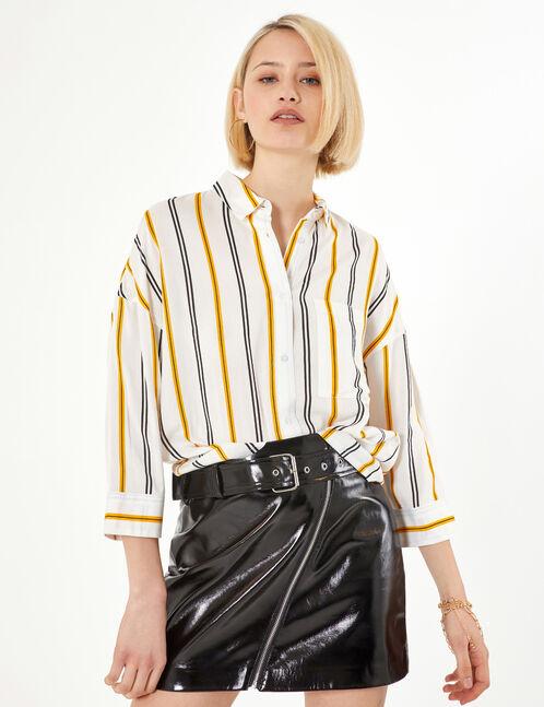 chemise rayée écrue jaune et noire