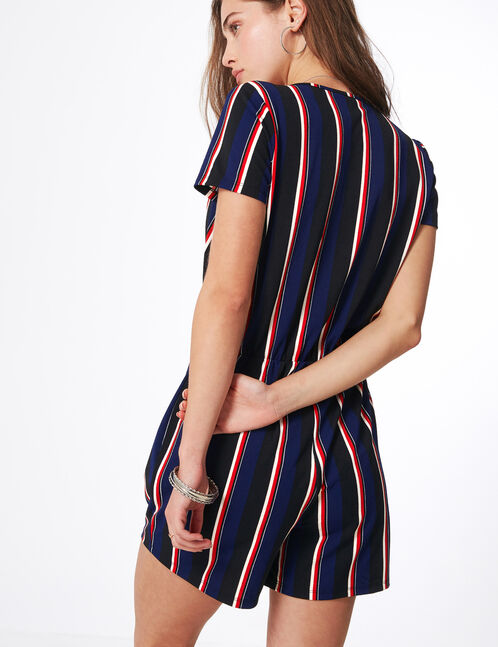 Black, blue, red and white striped wrap playsuit