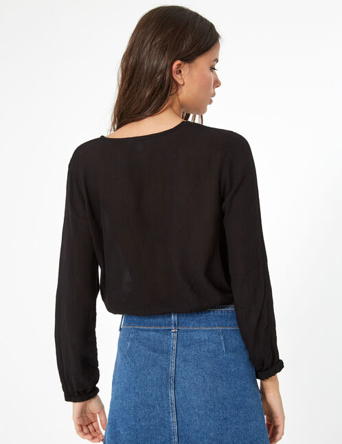 Black blouse with strap detail
