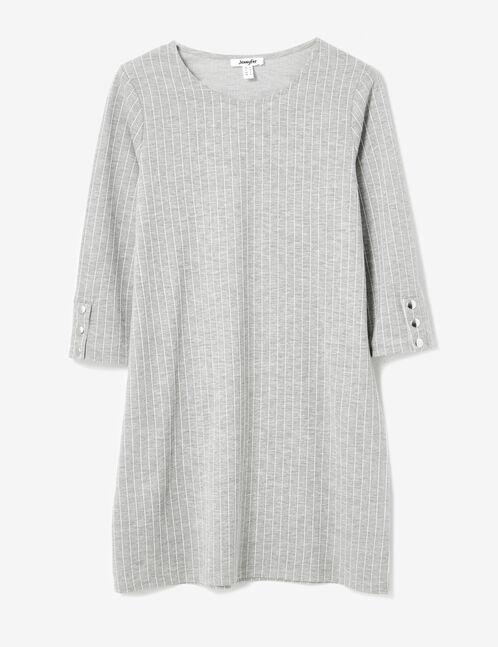 robe rayée grise et blanche