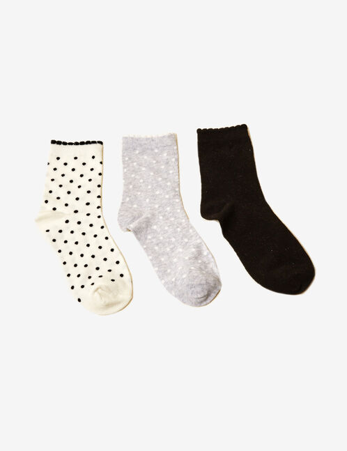 Cream, black and grey polka dot socks