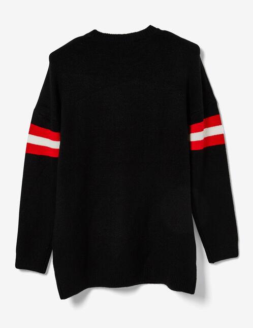 Long black jumper with stripe detail