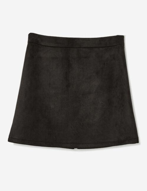 jupe zippée en suédine noire