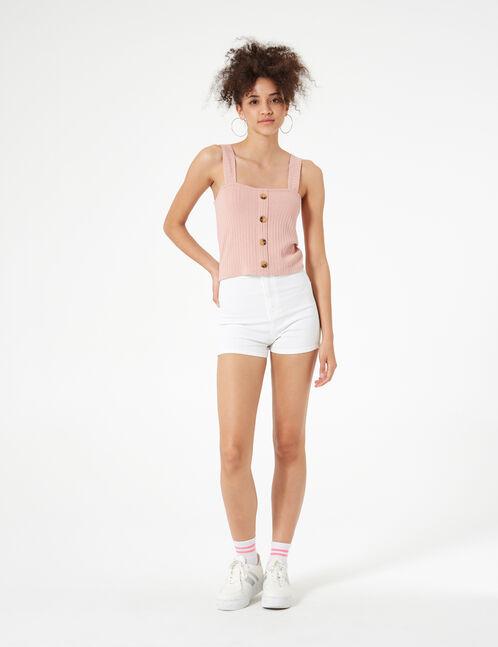 light pink button crop top