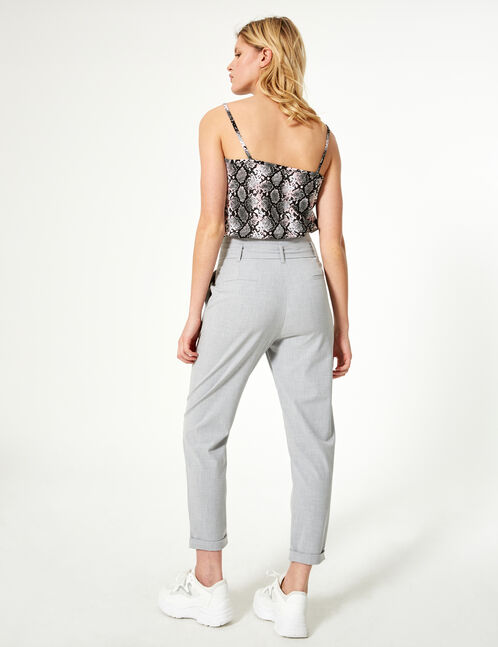 Light grey tailored trousers with belt