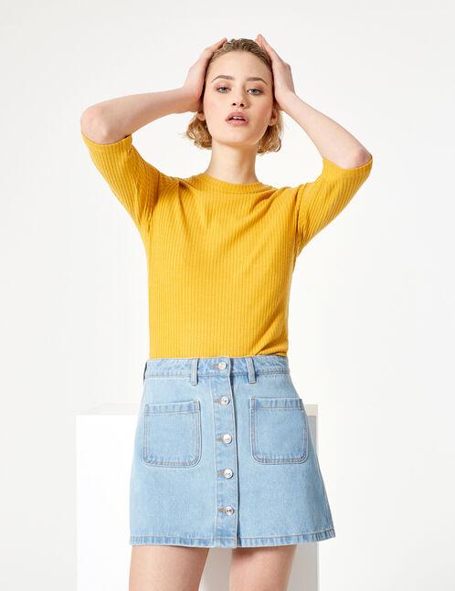 Button-up light blue denim skirt