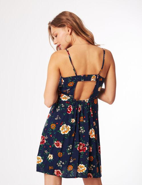 robe fleurie boutonnée bleu marine