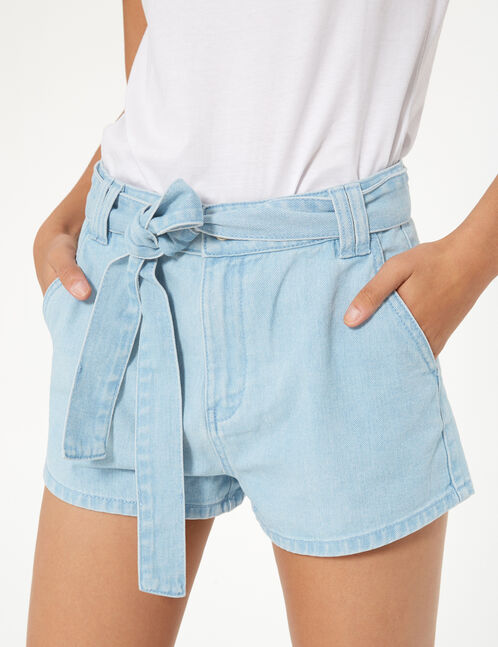 Light blue belted denim shorts
