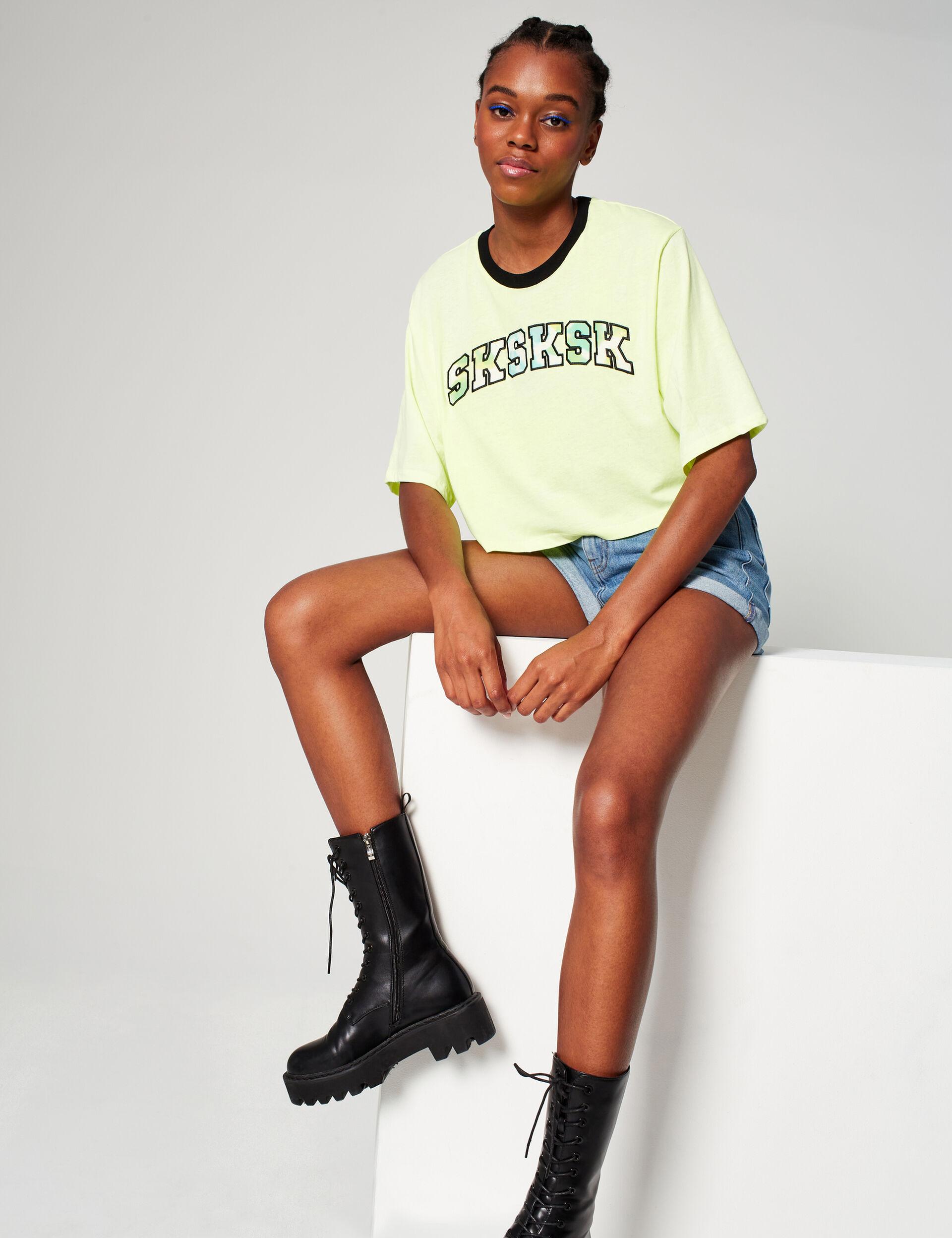 sksksk cropped T-shirt