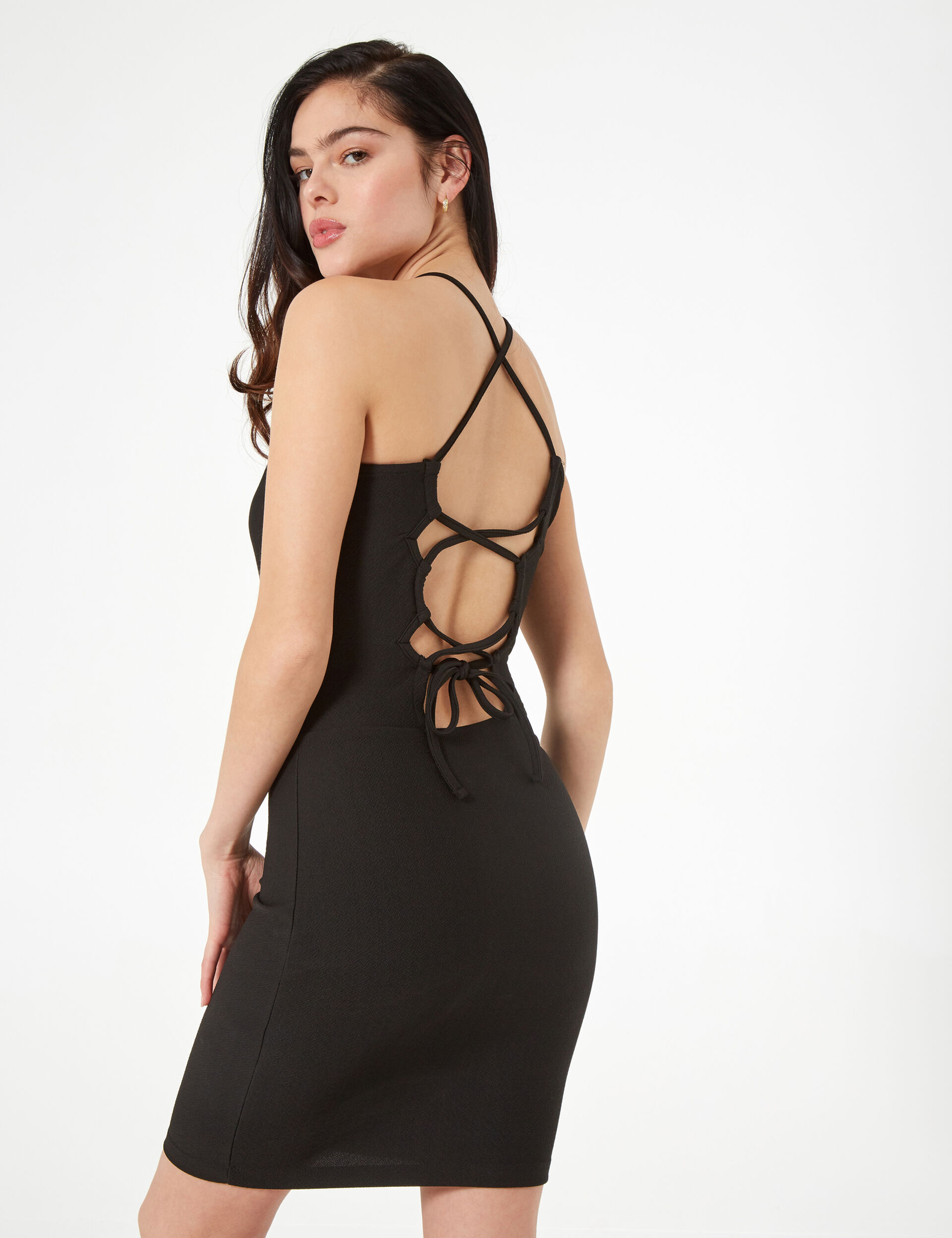 Body-hugging dress with ties