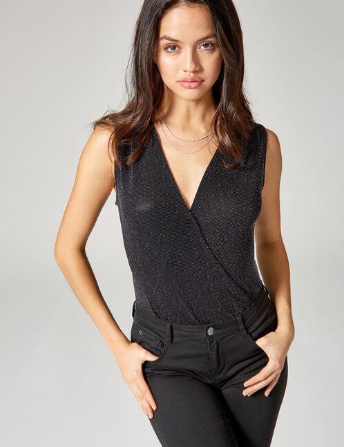 Black wrap bodysuit with lurex detail