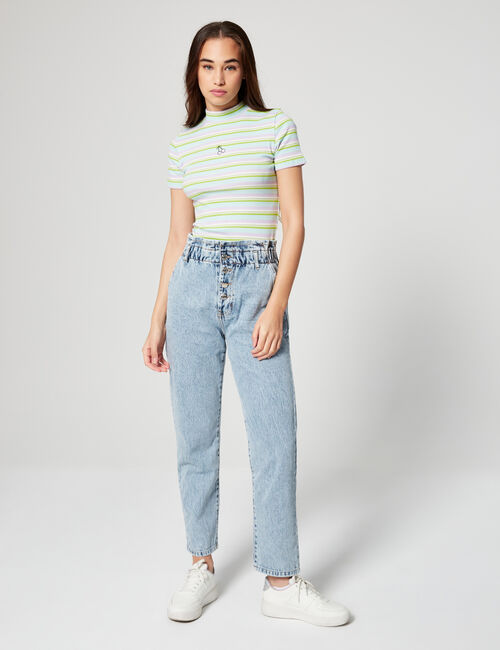 Distressed effect slouch jeans