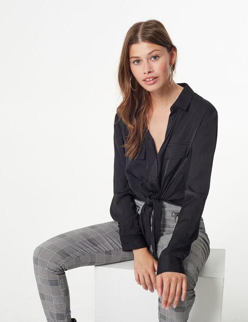 black tie-fastening shirt