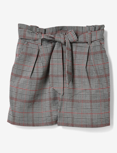 Grey, black and red glen check shorts