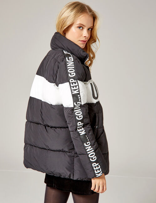 Black and white two-tone padded jacket with text design detail