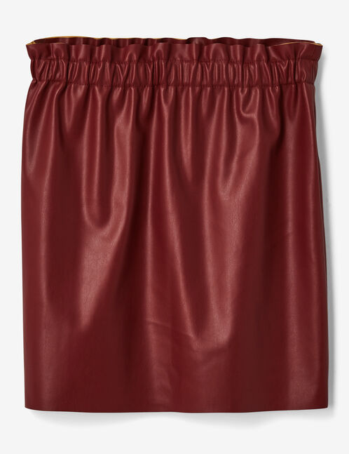 Burgundy faux leather skirt with ruched detail