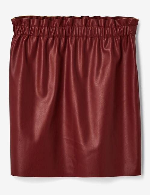 jupe simili avec fronces bordeaux