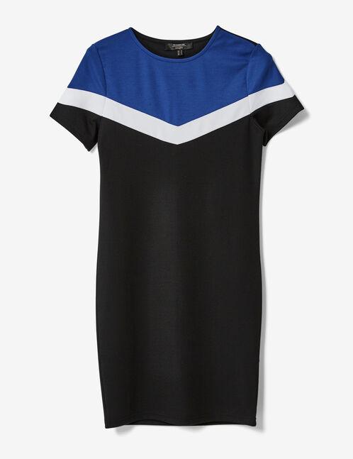 robe tricolore noire, blanche et bleue