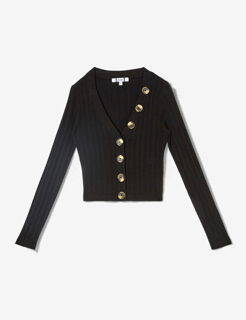 Short black buttoned cardigan