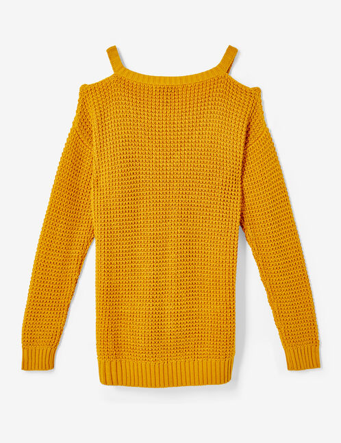 Ochre jumper with cut-out neckline detail