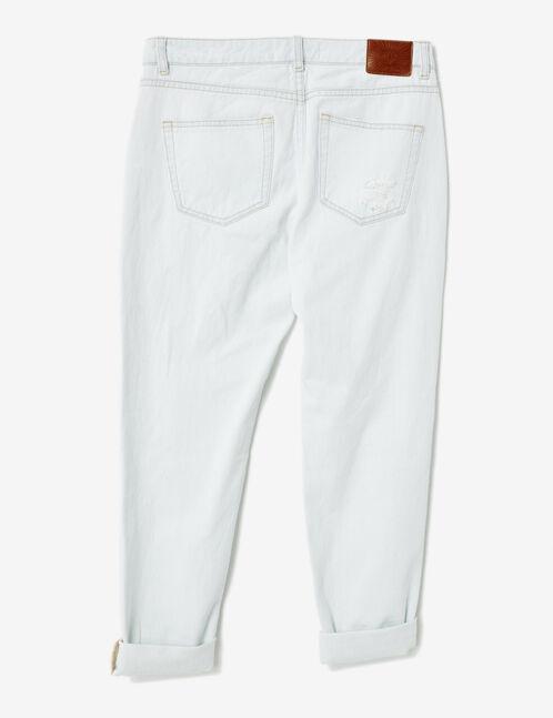 Distressed bleached denim boyfriend jeans