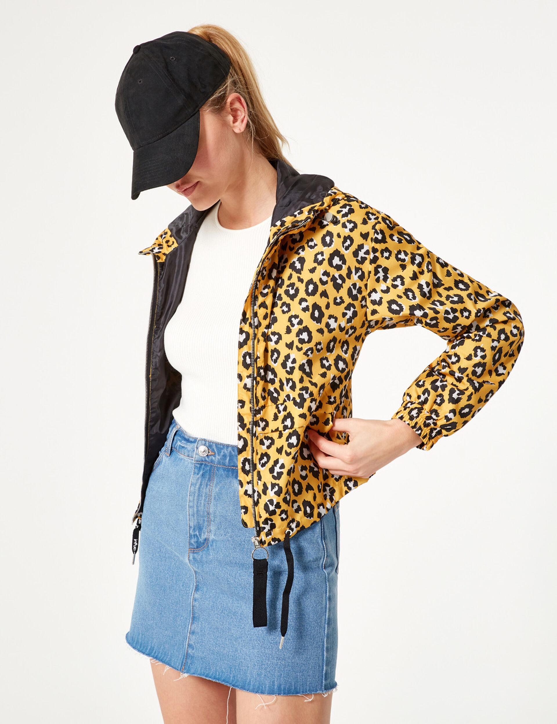Yellow leopard print lightweight jacket