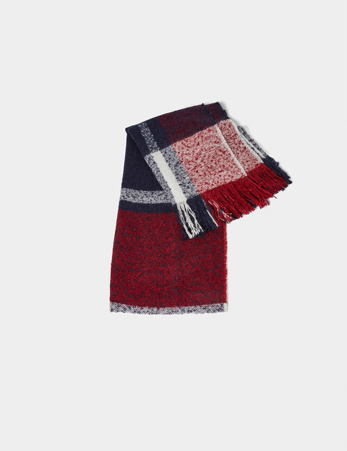 Navy blue, burgundy and cream checked scarf