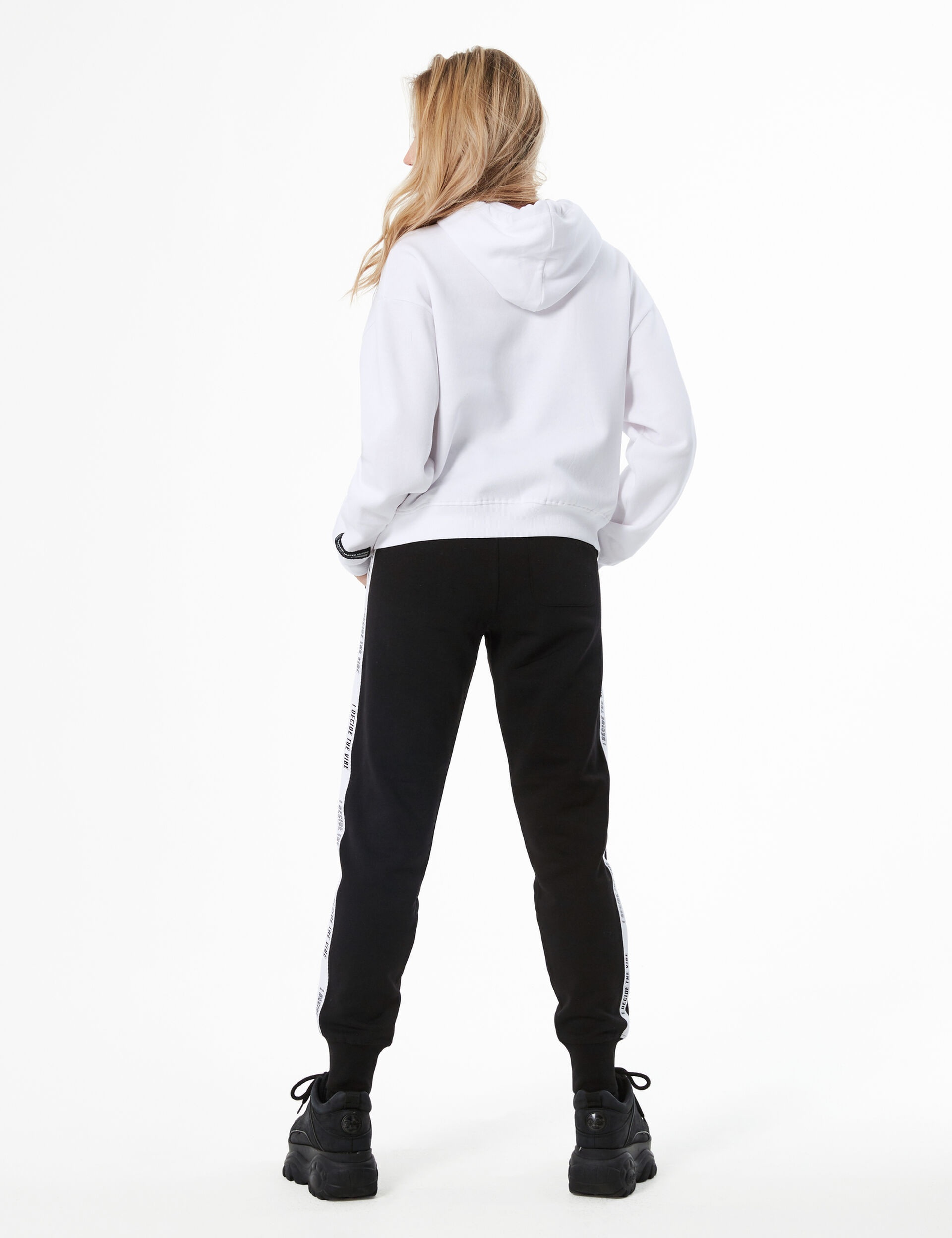 Joggers with text design trim detail