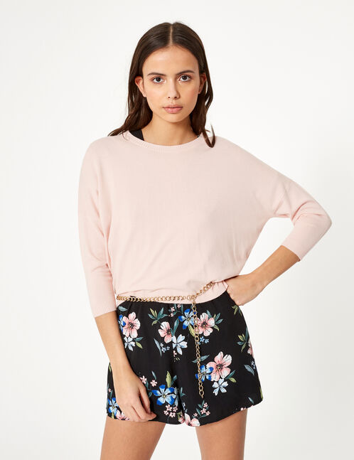 pull col rond rose clair