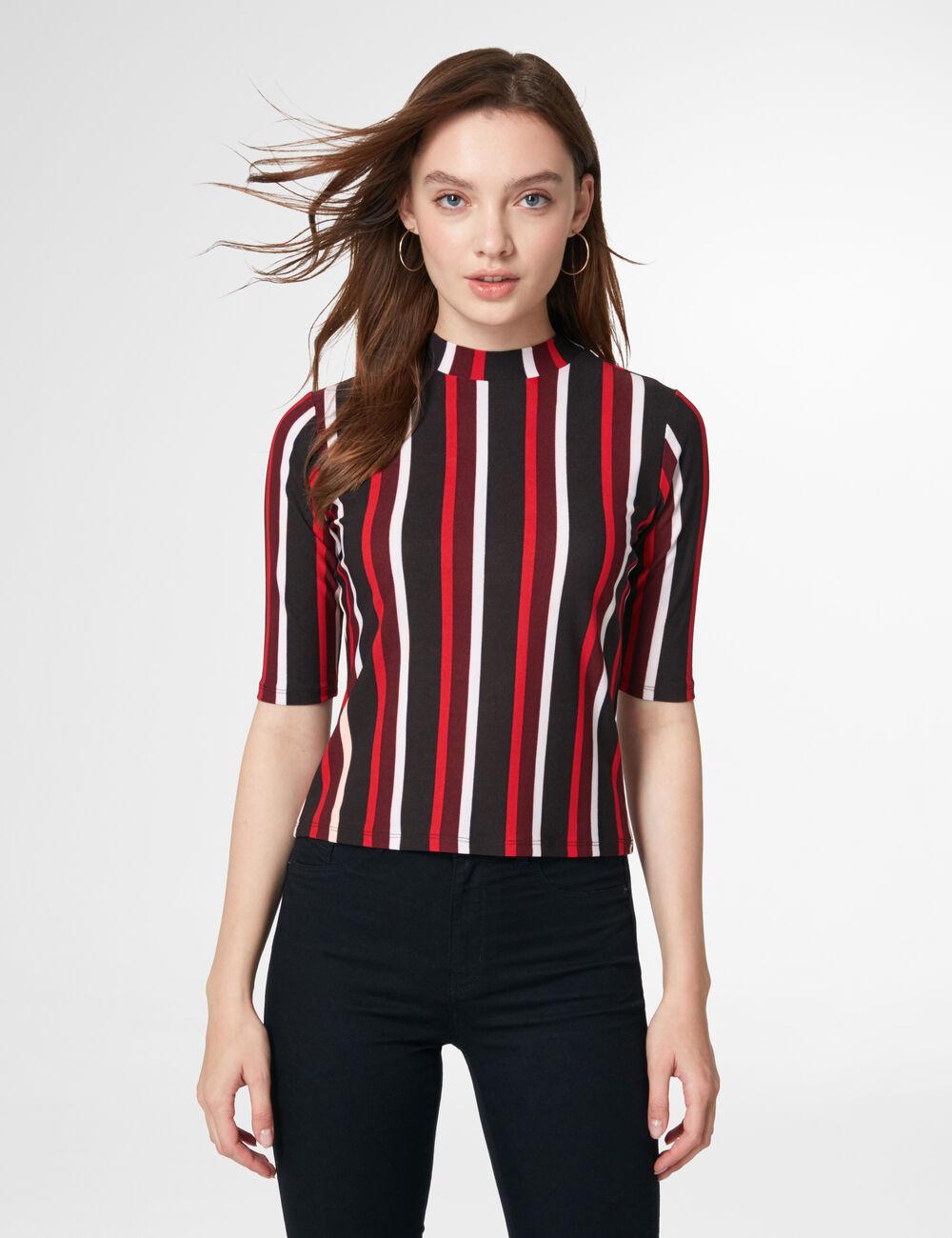 tee shirt ray prune rouge noir et blanc femme jennyfer. Black Bedroom Furniture Sets. Home Design Ideas