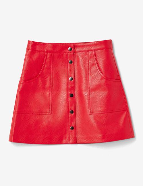 jupe simili boutonnée rouge