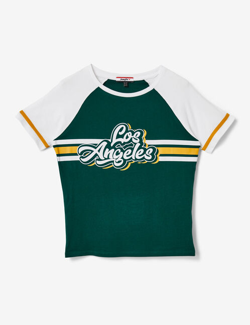 "Green and white ""Los Angeles"" T-shirt"