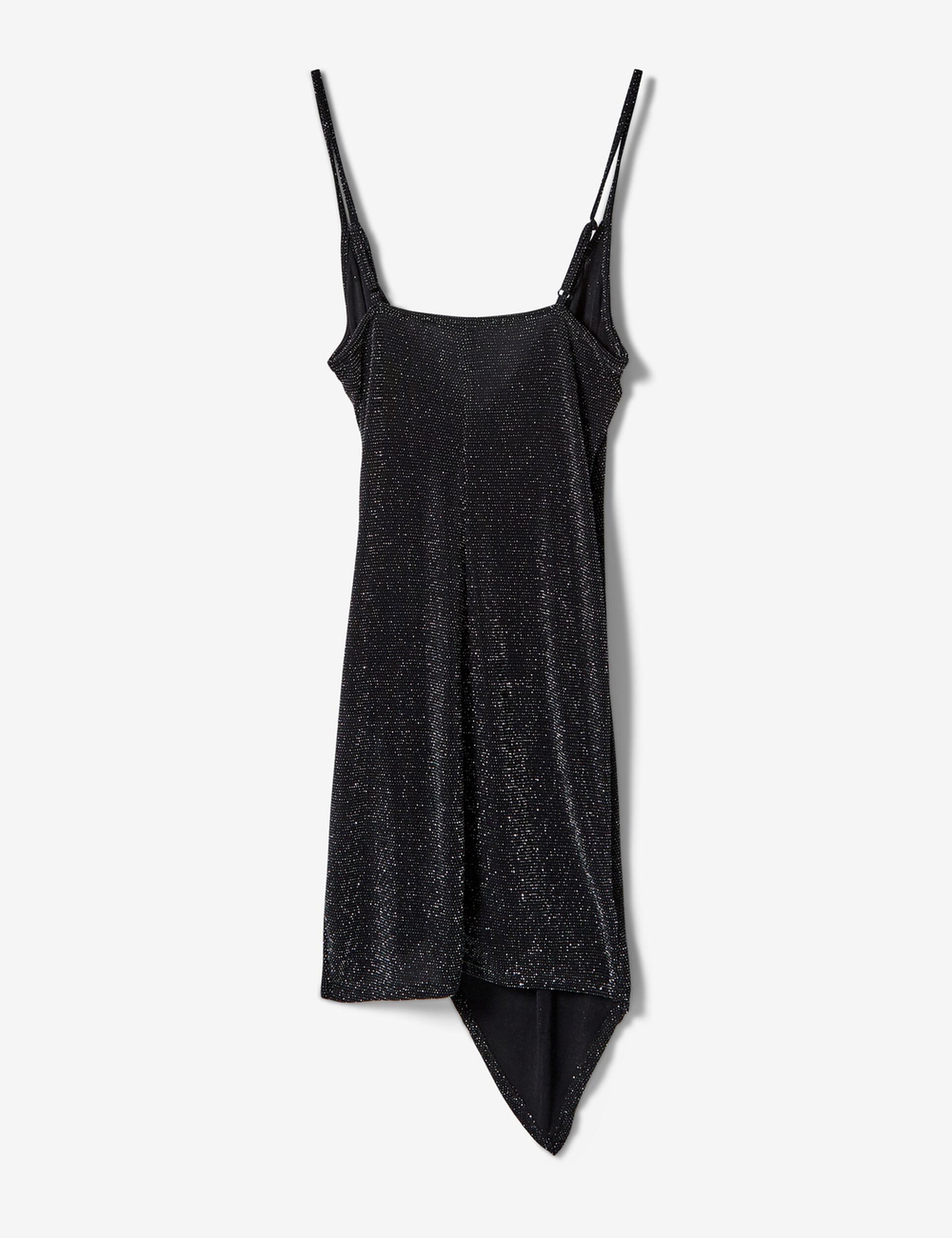 robe asymétrique noire et argentée