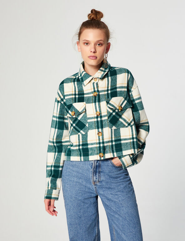 Checked cropped overshirt