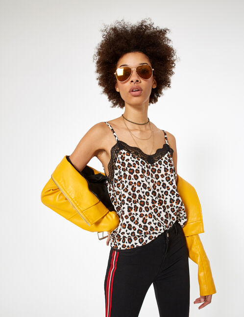 Beige, brown and black leopard print blouse with lace detail