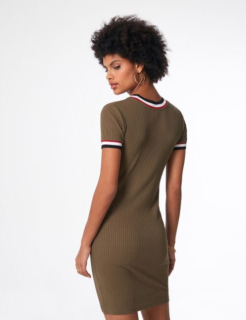 Khaki dress with striped edging detail