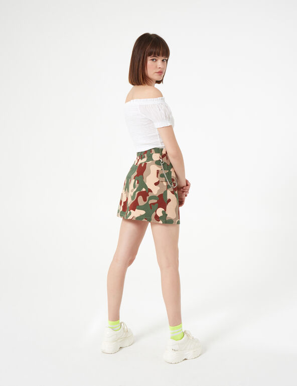 Dark green camouflage skirt with chain detail