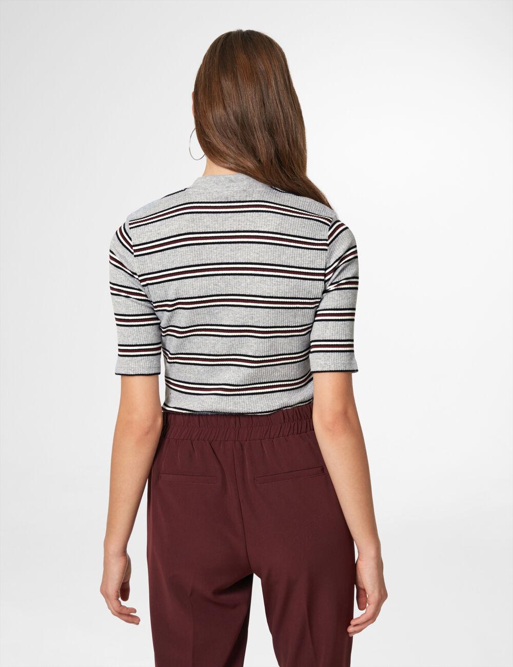 tee shirt c tel ray gris noir blanc et prune femme. Black Bedroom Furniture Sets. Home Design Ideas