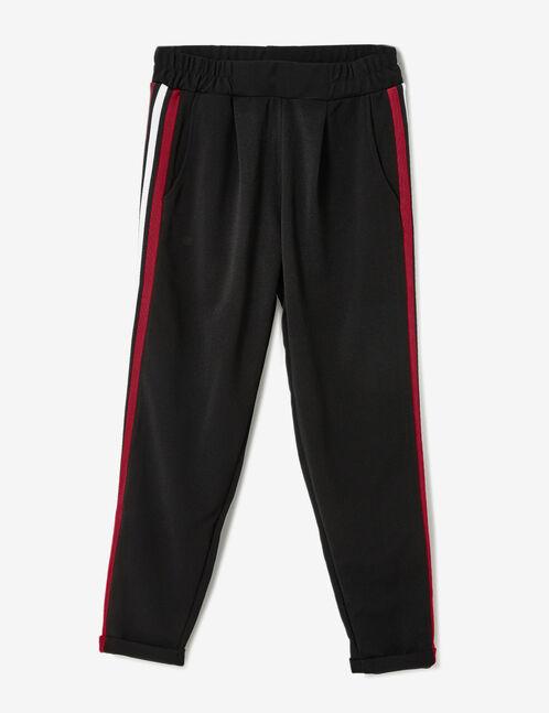 pantalon rayures côtés noir et bordeaux
