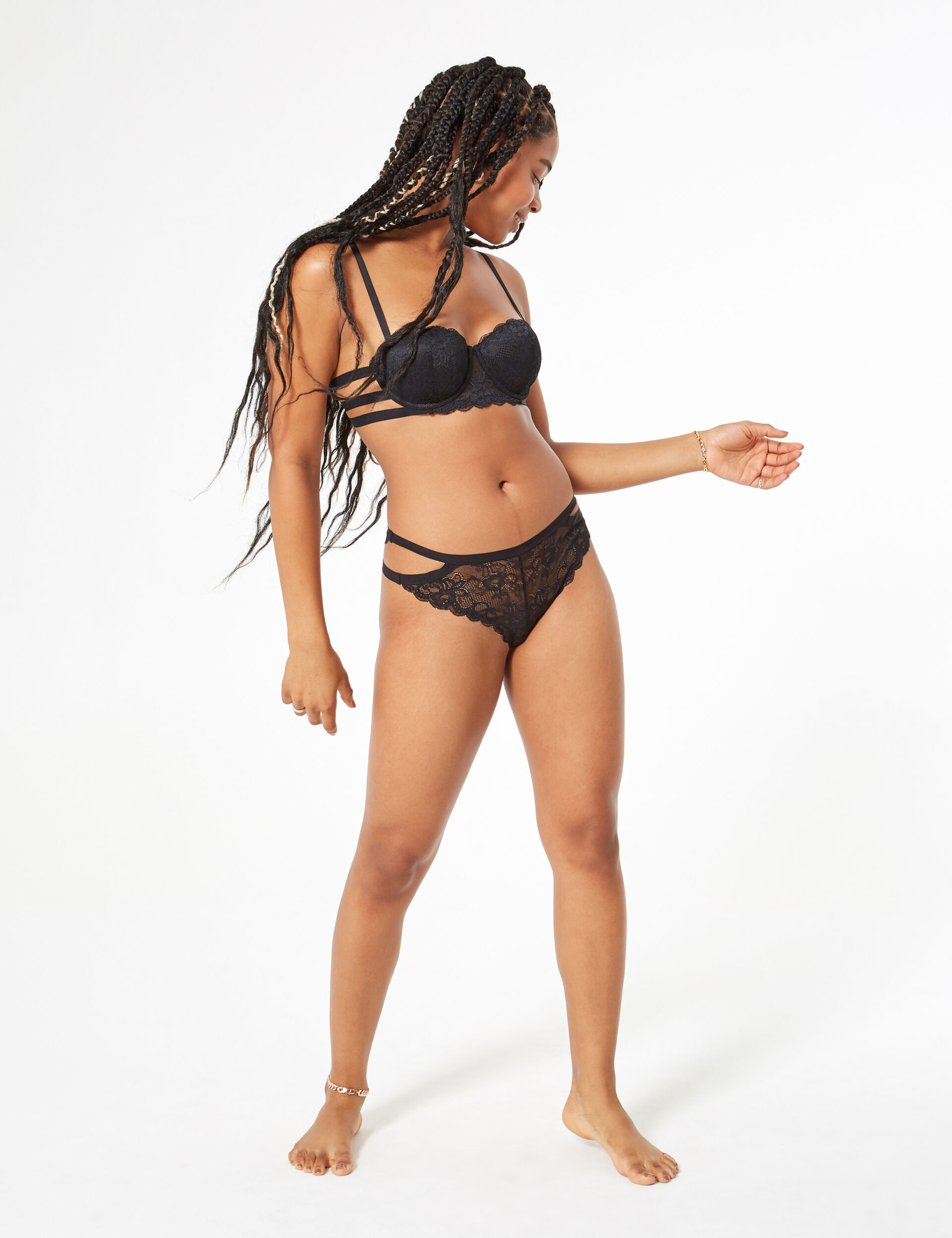 Lace tanga briefs with waistband