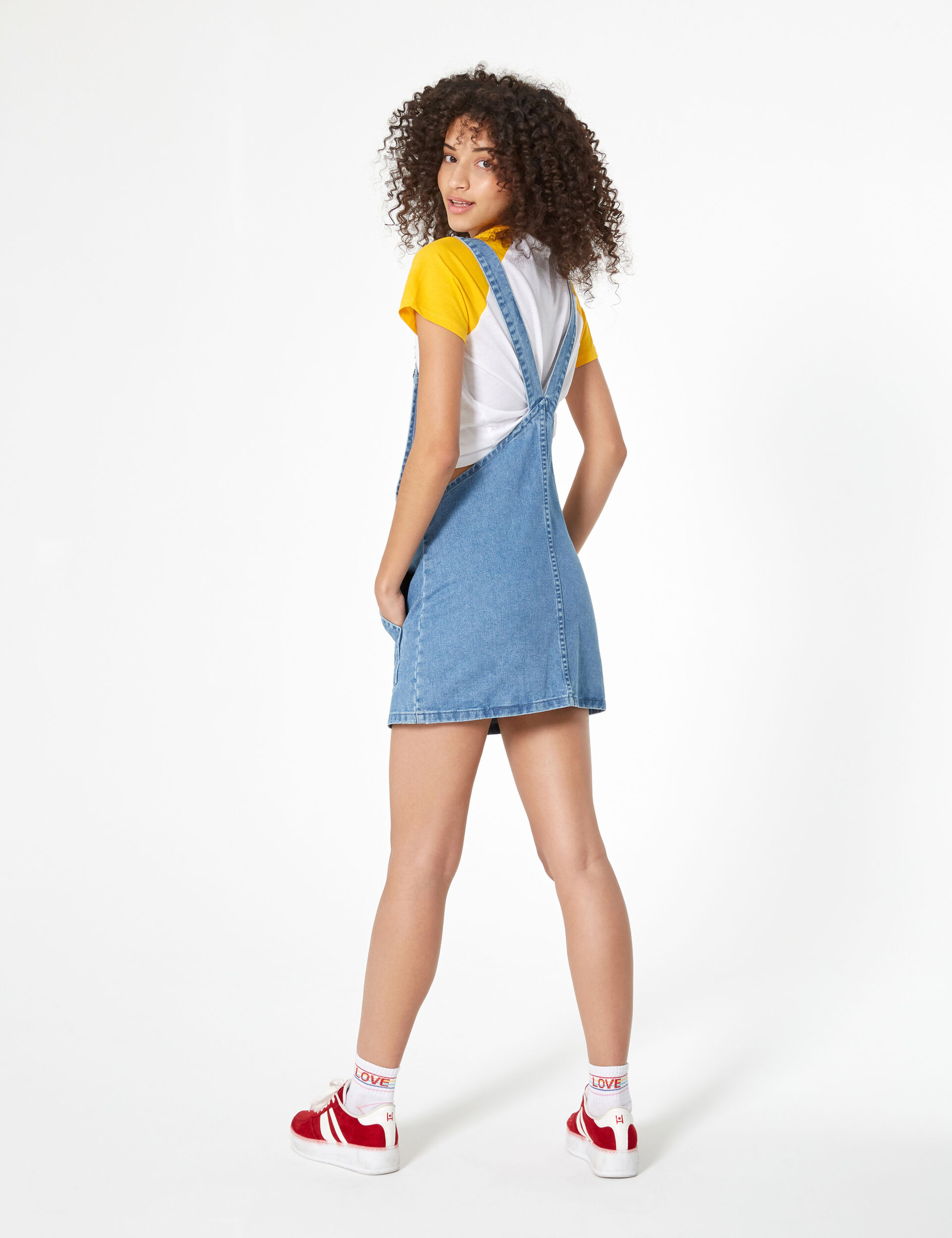 Blue denim pinafore dress