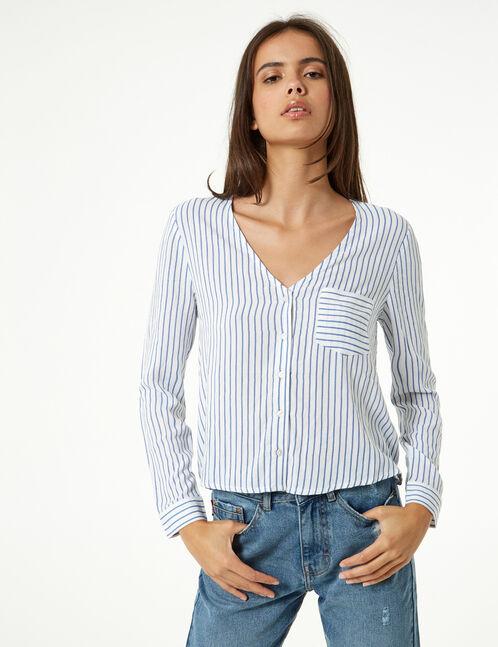 chemise rayée col v