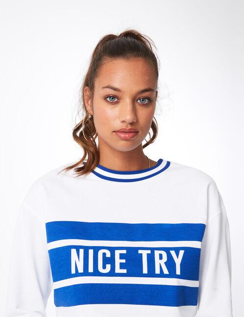 "White and blue ""nice try"" sweatshirt"