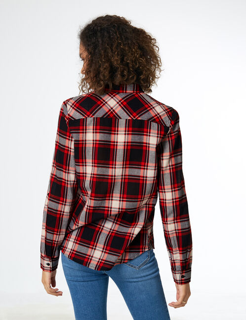 Red, black and cream checked shirt
