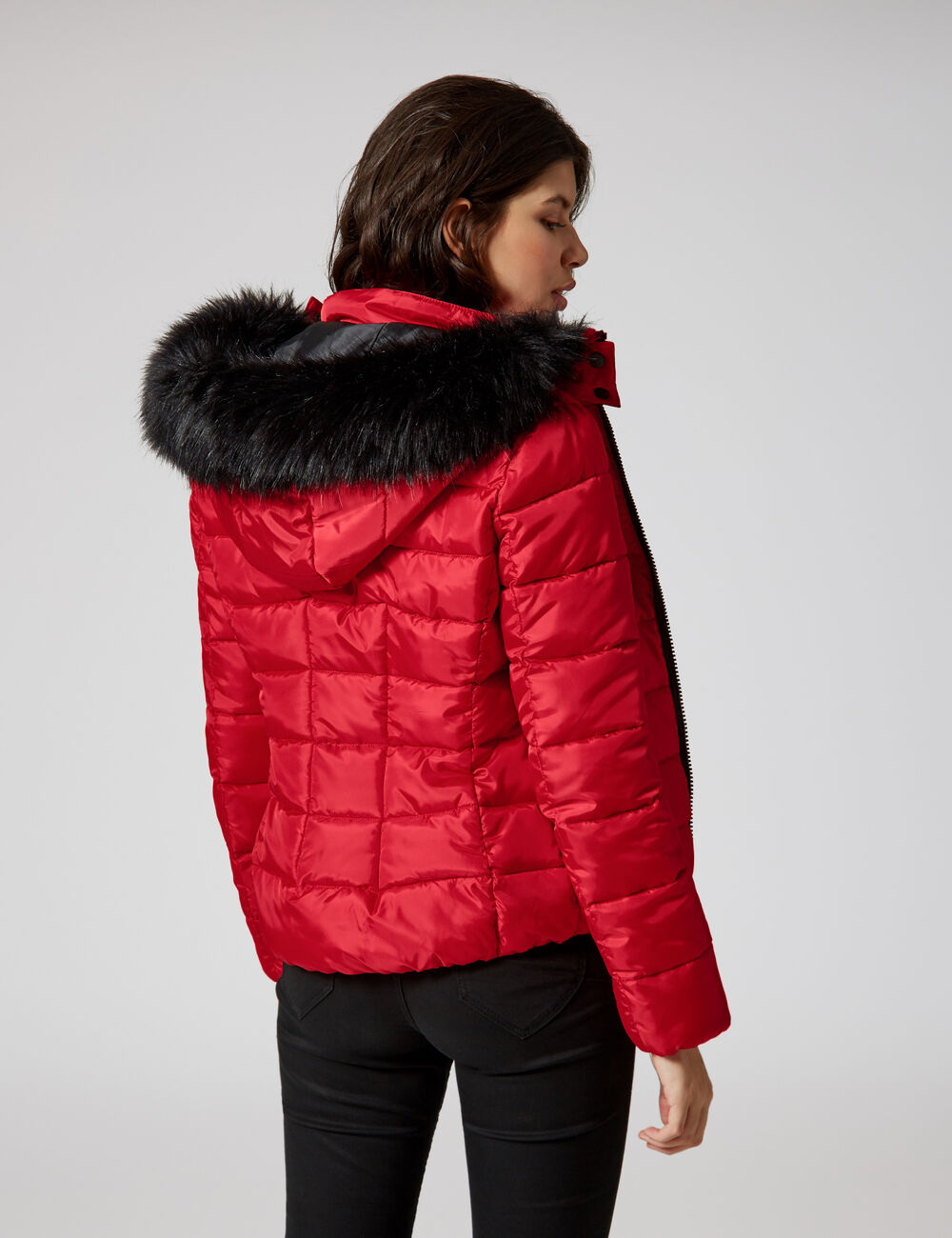 Red Hooded Padded Jacket Woman Jennyfer