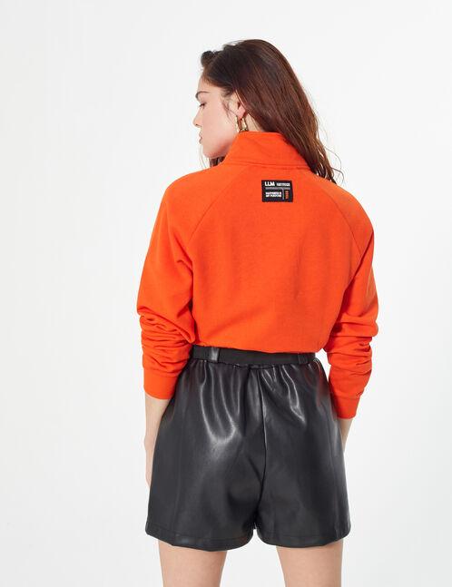 zip-up hoodie with slogan