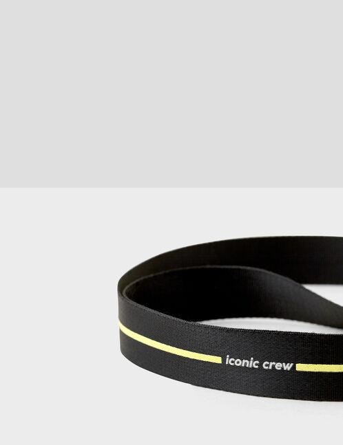 "Black and white ""iconic crew"" belt"