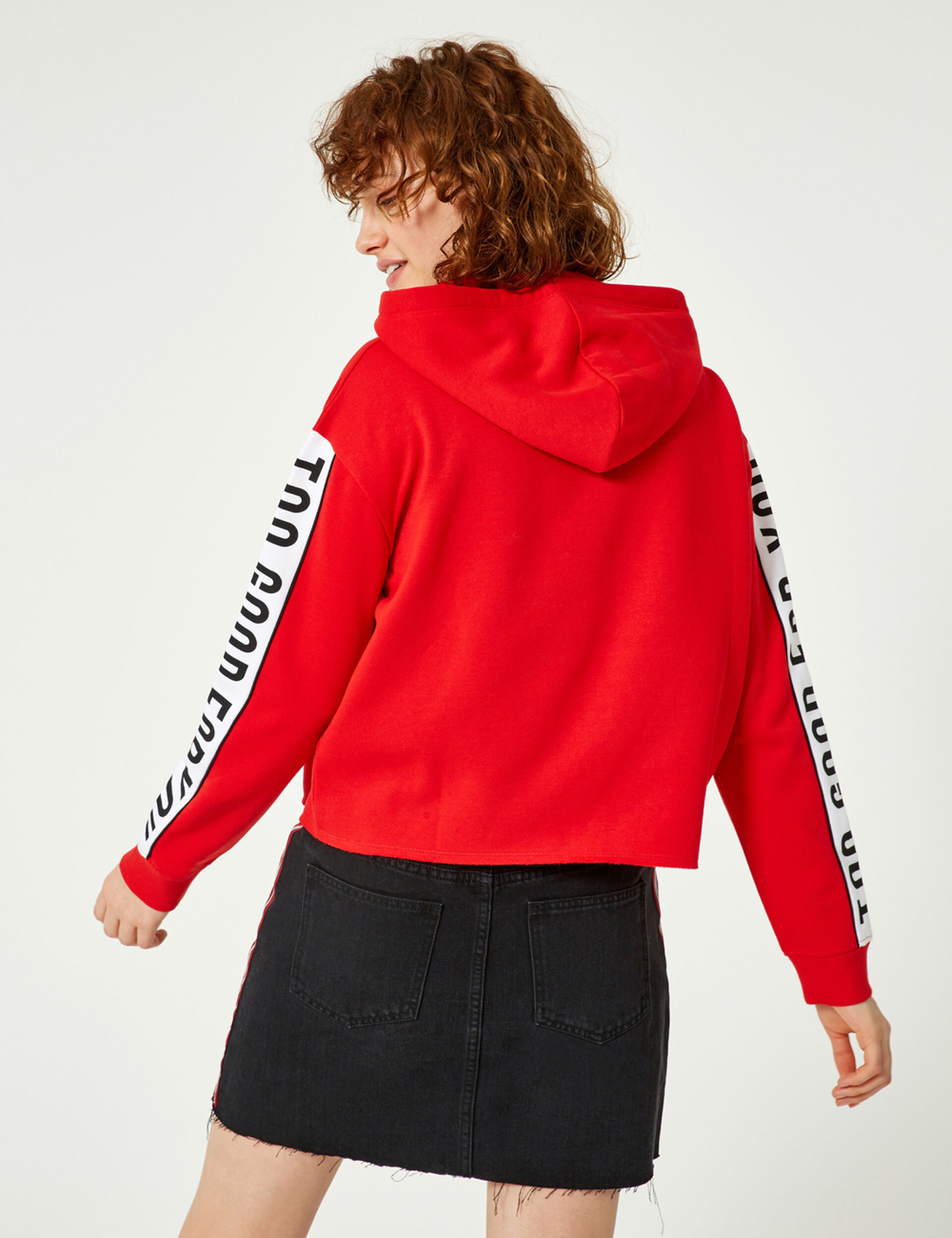 "Red and white ""back off"" hoodie"