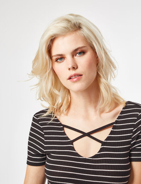 Black and white striped deep-V bodysuit with strap detail